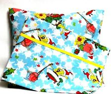 Christmas Sponge Bob Toddler Pillow and Pillowcase Aqua Cotton #9 New Handmade