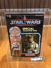Vintage Kenner Star Wars MOC AFA70Y POTF Luke Skywalker (in Battle Poncho)