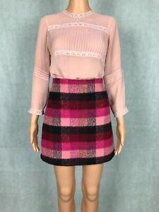 George Multicoloured Plaid Pink Fleece Mini A-Line Skirt - UK 8 / EUR 36