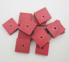 12 x Dark Red Wooden 13mm Square Stacking Beads - centre hole