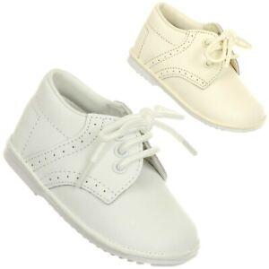 White Ivory Baby Toddler Boys Leather Shoes Christening Baptism Dedication Laces