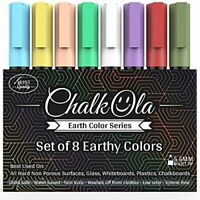 Chalk Pens - Pack of 8 Earth Colour Markers - Use on Whiteboard, Chalkboard,
