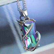 Gorgeous 925 Silver Necklace Pendant for Women Mystic Topaz Jewlery Gift