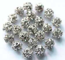 30 Pcs White K Plated Crystal Beads Spacer Bead Jewelry Making DIY findings 8mm
