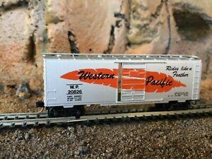 N Scale Micro trains 40' single door boxcar WP WESTERN PACIFIC  w/feather NIB