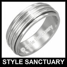 Silver Spinning Ring Men Ladies Women Wedding Band Spinner Worry Love Engagement