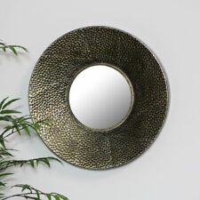 Round hammered bronze wall mirror rustic shabby chic living room hallway display