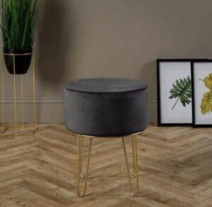 Ports of Call Jeff Banks: Soft Velvet Footstool (Grey) Luxury Living Room Chair!