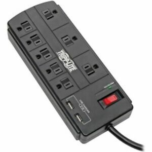 Tripp Lite Surge Protector Power Strip 8-Outlet 2 USB Charging Ports TLP88USBB