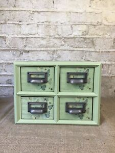 Small Green 4 Drawer Vintage Style Kitchen Haberdashery Apothecary w/ cup handle