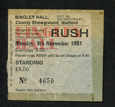Original 1981 Rush FM concert ticket stub Stafford Moving Pictures Tom Sawyer