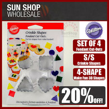 100% Genuine! WILTON Crinkle Shapes S/S Fondant Cut-Outs Set of 4 Cake Cupcake!