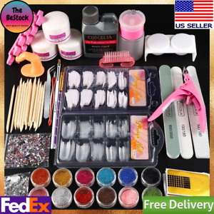 Professional Acrylic Nail Kit Manicure Set With Liquid Glitter Powder Tips Drill