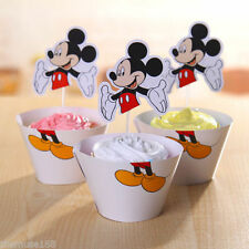 NEW 24pcs MICKEY MOUSE 12 Cupcake Wrappers + 12 Toppers Birthday Party Decor