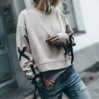 Zara Beige Sweatshirt with bow detail on the sleeves Size S Bloggers favourite