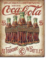 Coca Cola 5 Flaschen Retro Metall Schild 420mm x 310mm (De)