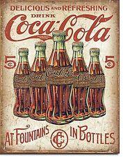 COCA COLA 5 bouteilles rétro panneau métallique 420mm x 310mm (de)