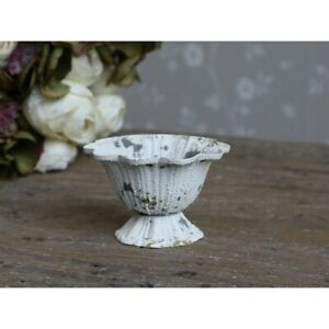 Chic Antique Small Bowl on Base Metal Teelichhalter Shabby Vintage Creme