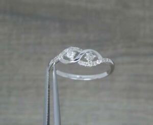 Elegant 9ct White Gold 0.15ct Diamond Twist Crossover Ring UK size P 1/2