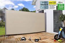 Seitenmarkise Sichtschutz Sonnenschutz Windschutz 160 x 300 cm BEIGE WINDKLASSE1