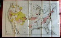 United States 1890-91 topographical survey progress large lithographed map