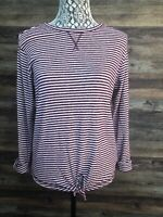 Girls Old Navy Maroon & White Striped Long Sleeve Top w/ Front Tie, Size XL, 14