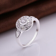 925 Sterling Silver Zirconia Heart Band Ring Size 8 B43