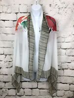 """Ladies Scarf White Black Stripes and Colorful Abstract Floral Rayon 62X29"""""""
