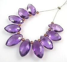 10 GENUINE AFRICAN AMETHYST FACETED MARQUISE BRIOLETTE BEADS 10-12 mm A11