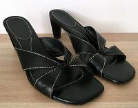 COLE HAAN Womens Black Open Toe Slip On Leather Sandal Heels Size 7.5 B