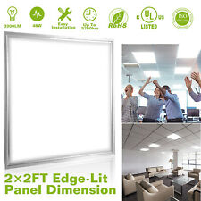48W 2x2 Ft Recessed LED Panel Light Ceiling Down 7500K Cold White Home Fixture
