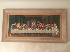 Vintage Extra Large PBN Paint by Number Painting Last Supper DaVinci White Frame