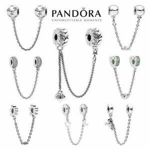 Safety Chain Charm 925 Sterling Silver Rose Bead Original Bracelet Pandora Gift