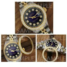 Rolex Custom Stainless Steel Yellow Plated  Genuine Diamond  Bezel 26mm