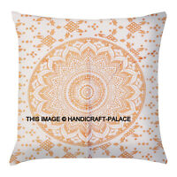 "18"" Meditation Indian Gold Ombre Mandala Pillow Cushion Cover Large Pillow Sham"