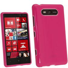 Hot Pink Rosa Glänzend Tasche TPU für Nokia Lumia 820 Windows Gel Hülle