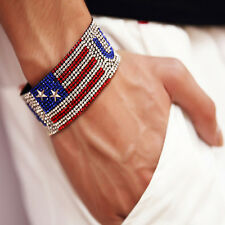 US Independence Day American Flag Magnetic Bangle Charm Chain Bracelet Jewelry