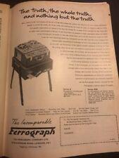 Vintage 1962 Ferrograph Tape Recorder Mono Stereo Sound Print Advertisement
