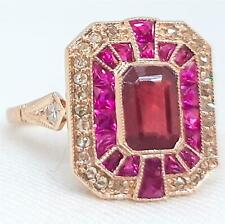 $2,899 Deco Genuine 2.57ctw Ruby French Cut & H-SI Diamond 14K Rose Gold Ring 4g