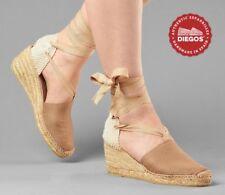 Diegos® Authentic Handmade Spanish Espadrilles | Tan high wedge shoes