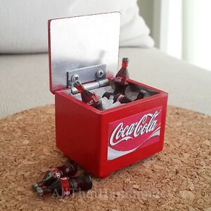 Dollhouse Miniature Food Beverage Drink COCA-COLA Coke Bottles in Ice Tub Decor