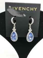 $45 Givenchy silver tone clear & blue crystal teardrop drop earrings Gs12