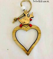 Wooden Christmas Tree Decoration Heart Shape Reindeer Head Xmas Hanging Ornament