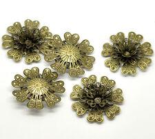 Pop 30 Bronze Tone Filigree Flower Connectors Embellishments Findings 3.9x3.9cm