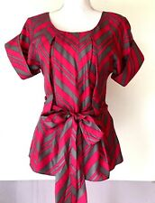Madison Marcus Blouse Silk Size Small Womens Pink Gray Tie Belt Cuff Sleeve