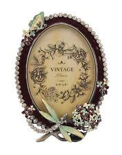 Libélula y Cristal Foto//Marco De Foto Estilo Vintage Oval Esmaltada Flor