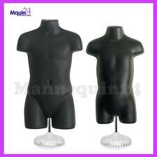 Black Kids' Mannequin Torsos - Child & Toddler Body Forms & 2 Stands + 2 Hangers
