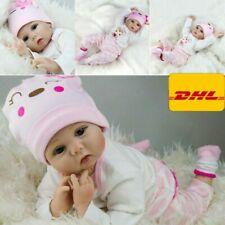 55cm Lebensecht Baby Puppe Reborn Handgefertigt Weich Silikon-Vinyl Mädchen DHL