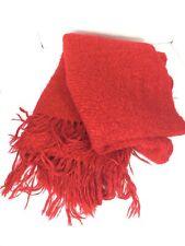 CHURCHILL WEAVERS Hand Woven Kentucky USA Red Fringe Wool Blend Throw Afghan