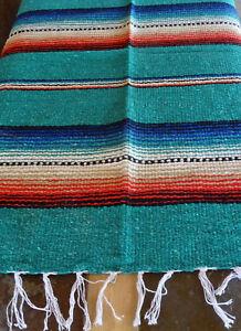 Rio Bravo Serape ONWRB-Teal Southwest Southwestern Blanket Table Cover Afghan